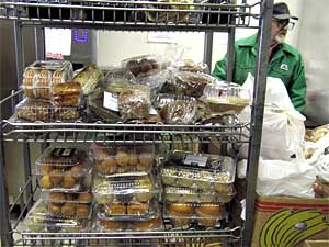 Fresh bakery items are brought in daily to the Keystone food shelf in St. Paul.