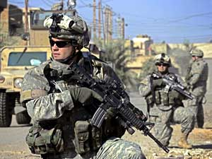U.S. troops on patrol in western Baghdad.