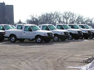 Ford Ranger trucks on the lot at St. Paul plant
