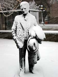 Snow-covered F. Scott Fitzgerald Statue in Rice Park