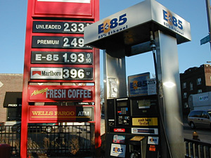 An E85 ethanol pump sits apart from the regular pumps at a St. Paul SuperAmerica, among the 6 percent of Minnesota gas stations that sell the fuel.