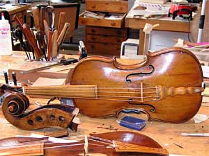This violin dates back to the 1600s.  Andrew Dipper had to make several pieces when restoring this instrument.
