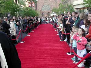 A long red carpet awaited the stars of the