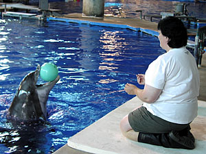 Participant Carol Kleve from Albany, Minnesota plays catch with Semo the dolphin.