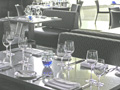 A view of the dining room at Cue restaurant