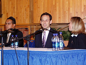 Keith Ellison, Alan Fine, and Tammy Lee, shown just before their debate in the 5th District race began.
