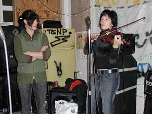Violinist Jessy Greene joins Dessa of Doomtree at a rehearsal.