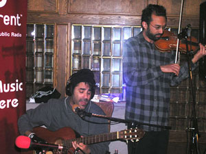 Nick Urata and Tom Hagerman from the band DeVotchka perform at Gluek's bar in Minneapolis.