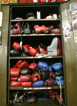 Boxing gloves are stored in a locker at the famous Gleason s Gym in  Brooklyn 042f40d30ae1