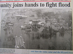 Newspapers tell the story of Montevideo's experiences with Minnesota River flooding.