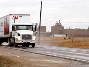 A 3M truck leaves the company's plant in Cottage Grove.