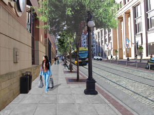 The 4th Street area of St. Paul is envisioned as an entertainment district under the light-rail plan.