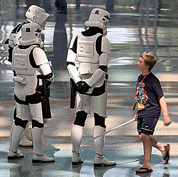 "Star Wars fans arrive for the opening day of the ""Star Wars Celebration IV"""