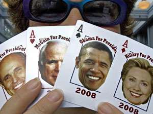 Playing cards with Rudy Giuliani, John McCain, Barack Obama and Hillary Clinton are on sale in Washington.