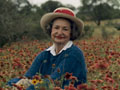 Lady Bird Johnson in a field of wildflowers