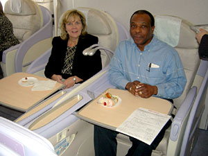 Tamara Gordon, left, and Gerry Williams were among those invited to take a ride on the new Airbus A380 -- in first class.