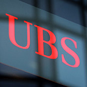 UBS sign in Geneva, Switzerland