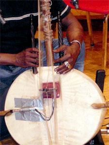 A close-up of Tourmani Diabate's kora. Built from a large gourd called a calabash which is cut in half and covered with cow skin. It has a notched bridge like a lute or guitar.
