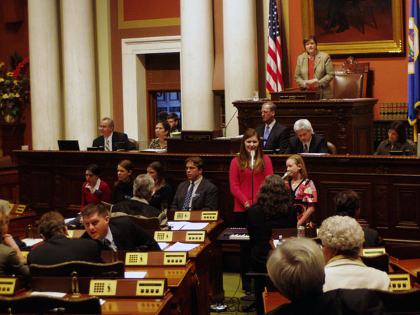 Speaker Margaret Anderson Kelliher watches over the Minnesota House of Representatives. The House passed a sex education bill as part of a comprehensive education policy bill.