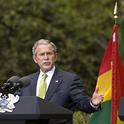 President George W. Bush speaks at a press conference in Ghana. (Jim Watson/AFP/Getty Images)
