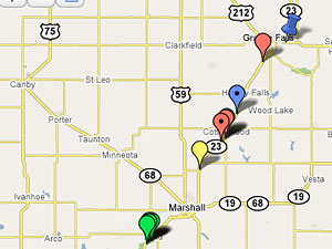 Accidents along Highway 23 between I-90 to Willmar from Jan. 2007 to the present, according to the Minnesota State Patrol. To see the complete map, click on the link in the right column.