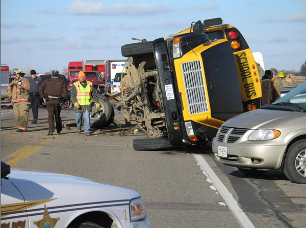 Four students were killed in February  after a van crashed into a bus near Cottonwood, Minn.