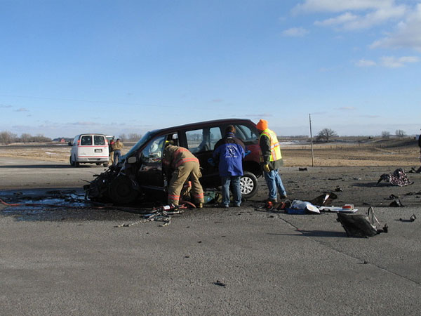 Four students were killed after this van crashed into a bus near Cottonwood, Minn., in February 2008. Olga Franco is accused of driving the van in the fatal crash.