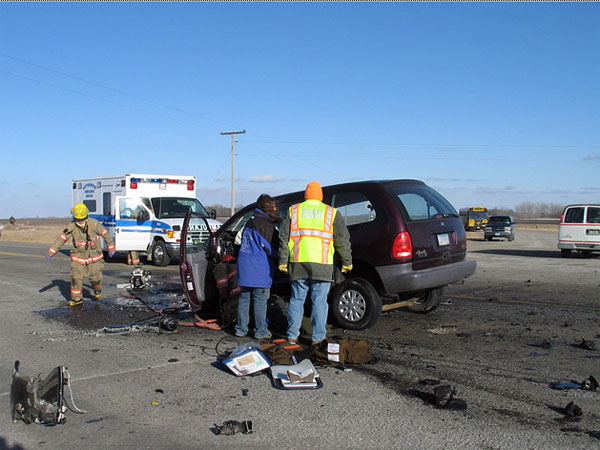This is the minivan that crashed into a school bus near Cottonwood, Minn. in February 2008, killing four students on the bus. The woman on trial for the accident claims she was not driving the van at the time.