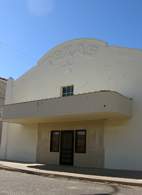 Although a favorite of movie location scouts, Marfa itself no longer has any more operating movie theaters. The building shown here was once the Texas movie theater, one of two in Marfa. It is now used for office space.