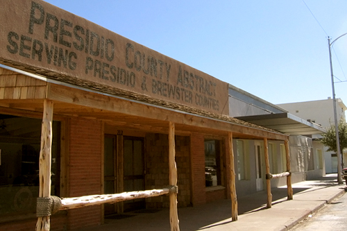 The Presidio County Abstract building is evocative of iconic western movies. It houses a real estate operation and, according to Joani Marginoeot at the Marfa Chamber of Commerce, it is as old as it looks.