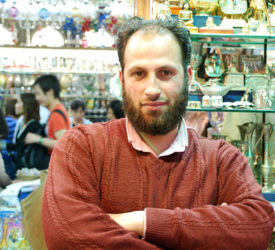 Hanuy, a merchant at the Khan al-Khalili bazaar in Cairo. Hanuy tells us that 80 percent of the goods on his shelves are actually made in China -- and he's not the only one employing this tactic.                                    (Miguel Macias)