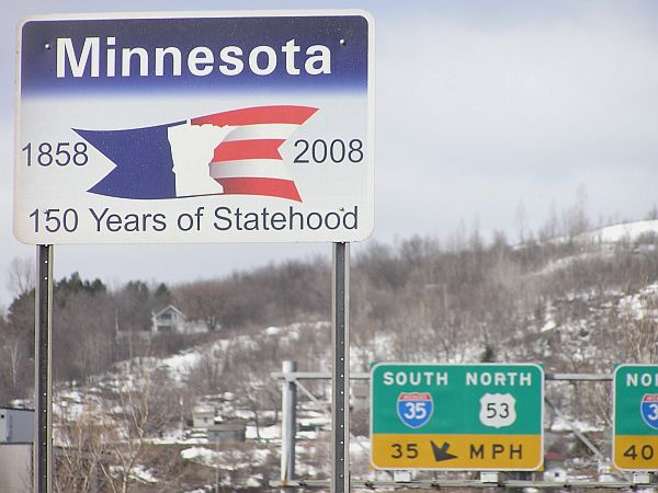 The state's Sesquicentennial Commission is planning a number of events this year, and also paying for these signs, located at border crossings across the state.