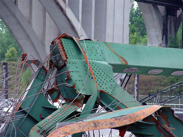 "A view of the bridge joint known as ""Node U10 West,"" a focal point of the NTSB's investigation in the I-35W bridge collapse. Some survivors and relatives of the victims of the bridge collapse have asked for pieces of the bridge as mementos."