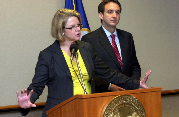 Gov. Tim Pawlenty joined U.S. Education Secretary Margaret Spellings to answer questions about changes to No Child Left Behind at a St. Paul press conference. She said she hoped it would spur reauthorization of the controversial federal education law.
