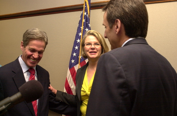 U.S. Senator Norm Coleman, U.S. Education Secretary Margaret Spellings and Minn. governor Tim Pawlenty talked Tuesday about changes they hope will ultimately better target federal aid to education under No Child Left Behind.