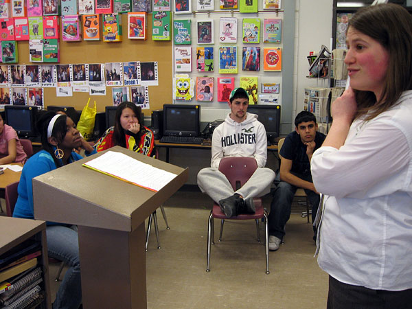 Erin Edwards leads an after-school college readiness program at Saint Paul's John A. Johnson Senior High School.