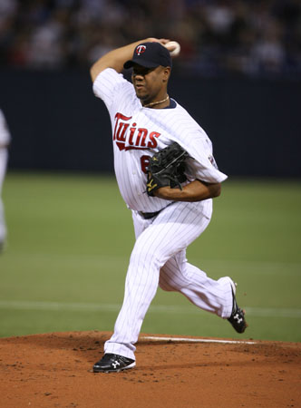 Livan Hernandez, #61 of the Minnesota Twins, pitches against the Los Angeles Angels of Anaheim during Opening Day on March 31, 2008 at the Metrodome.