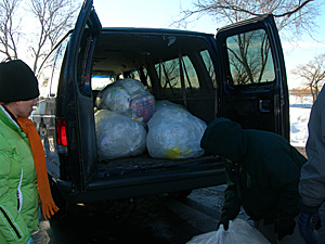 "The crew from ""It's in the Bag"" program does seven routes, five days a week collecting plastic grocery bags from participating stores in the Twin Cities."