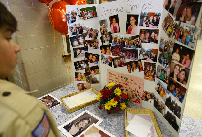A memorial is set up at Pelican Rapids High School gymnasium on Monday in Pelican Rapids, Minn. for Jessica Weishair, 16. Weishair died when a bus carrying students from Pelican Rapids High School crashed in Albertville early Saturday morning on its way back from Chicago.
