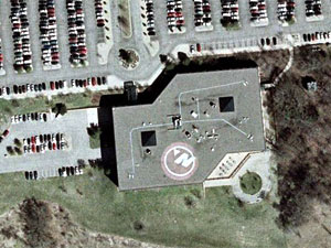 The corporate headquarters of Northwest Airlines in Eagan, Minn., is clearly identifiable from above with its corporate logo displayed on the roof.