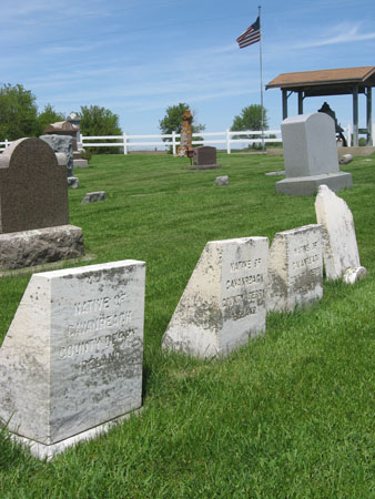 Many Irish immigrants are buried in the cemetery behind St. Rose of Lima Catholic Church.
