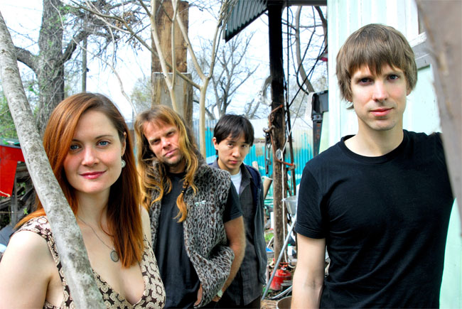 The band Shearwater (Kim Burke, Howard Draper, Jonathan Meiburg, Thor Harris.)