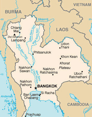 Photo: #A map of Thailand and Laos. Officials in Thailand reportedly