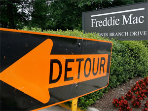 A Freddie Mac sign sits in front of its headquarters July 10, 2008 in McClean, Virginia.