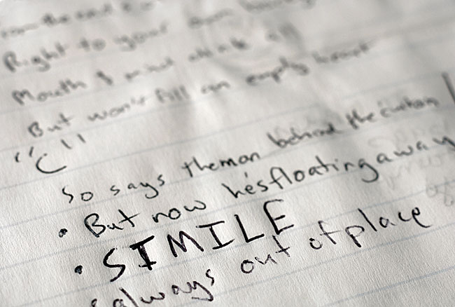 When working on a song, Messersmith documents his brainstorms in a spiral-ringed notebook.