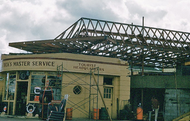 Construction of the cantilevered roof over Dick's Master Service in Cloquet in 1957. The station was designed by renowned architect Frank Lloyd Wright.