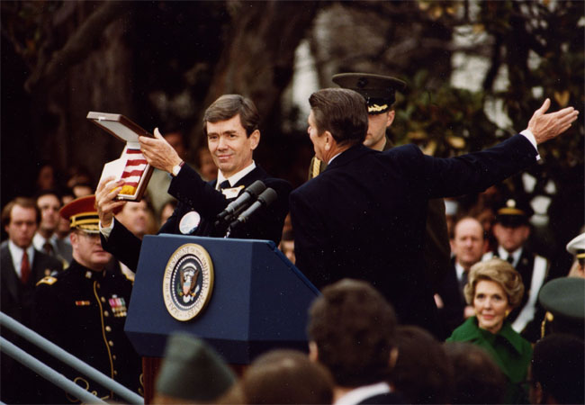 Bruce Laingen receiving the U.S. flag from President Ronald Reagan at his homecoming ceremony in 1981.  Laingen, a Minnesota native, was held prisoner during the Iran hostage crisis from Nov. 4, 1979 to Jan. 20, 1981.