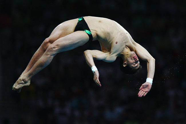 Rommel Pacheco of Mexico competes during the Men's 10m Platform Final diving event held at the National Aquatics Center on Day 15 of the Beijing 2008 Olympic Games on August 23, 2008 in Beijing, China.