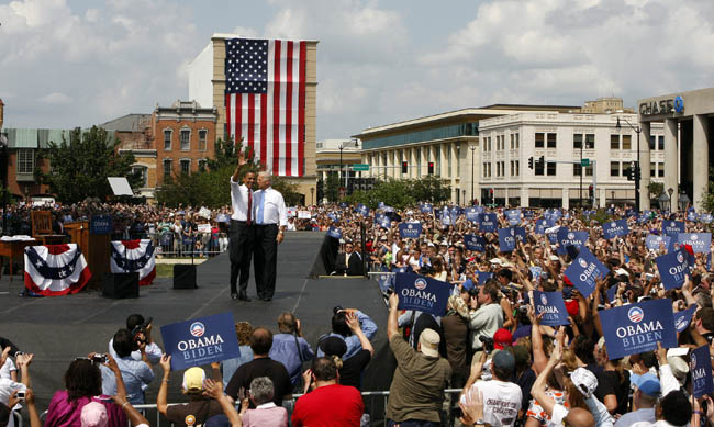 Presumptive Democratic Presidential candidate U.S. Sen. Barack Obama (D-IL) introduces his Vice Presidential pick Sen. Joe Biden (D-DE) at the Old State Capitol August 23, 2008 in Springfield, Illinois. Obama announced Biden as his Vice Presidential running mate with a text message in the early morning on August 23, 2008. Biden is the chairman of the Senate Foreign Relations Committee and is familiar with foreign leaders and diplomats from around the world.