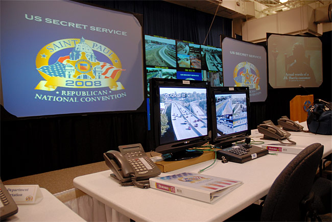 Screens inside the Secret Service's Multi Agency Communications Center are already monitoring parts of St. Paul around the site of the Republican National Convention. This is what it looks like inside of the Secret Service's MACC outside of St. Paul.